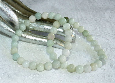 "Sale-""Calm Your Spirit"" Burmese Jadeite Varied Green Natural Color 8mm Elastic Bracelet (BJBeads-15)"