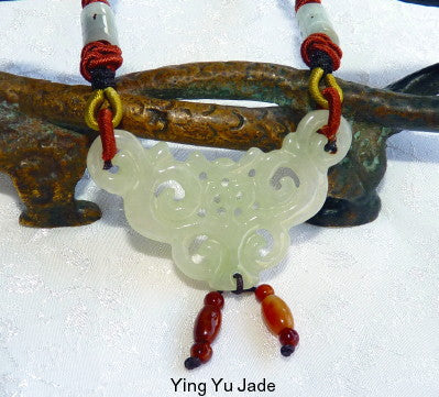 """Elegant"" Detailed Carving Burmese Jadeite Pendant Necklace (BJNECK-55)"