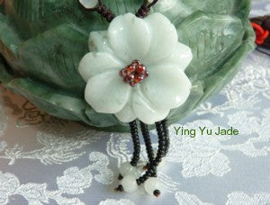 """Yin"" Feminine Flower Jadeite Necklace (BJNECK-51)"