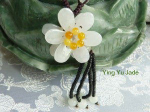 """Mei""  Beautiful ""Double Flowers"" Jadeite Necklace (BJNECK-42)"
