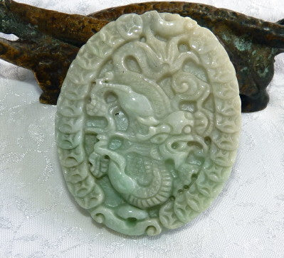 "Dragon Brings Luck and Fortune"" Jadeite Pendant (BJP-860-3)"