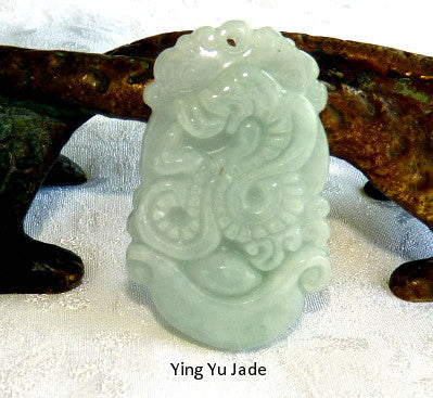 "Deal of the Day-""Snake Brings Wealth and Luck"" Burmese  Jadeite Pendant (BJP-866)"