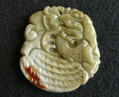 """Emperor's"" Favorite Jadeite Dragon and Peanut Large Pendant-Vintage Jadeite"