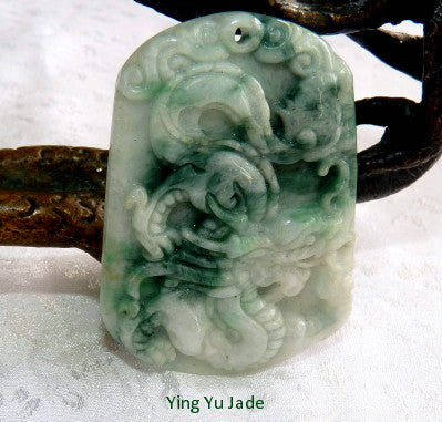 """Yin and Yang"" Burmese Jadeite Dragon and Phoenix Pendant (BJP908)"