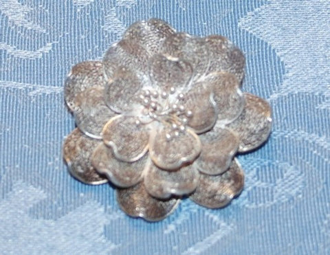 Vintage Silver Filigree Philippines Lotus Flower Pin Brooch (BOX-PIN-5)