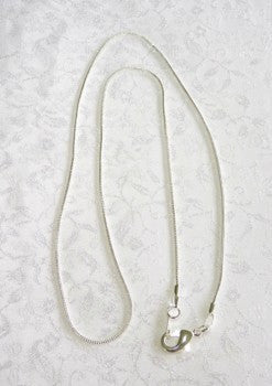 "Silver Chain for Pendants with Bails 18"" Length - Snake Style"