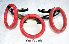 "Clearance-""Chicken Blood Red"" Chinese Jade Classic Round Bangle Bracelet 58 mm (NJRJ-CL)"