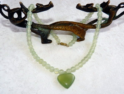 Translucent  Green Chinese Jade Bead Necklace with Heart - Last One!- (CJNECK-19)