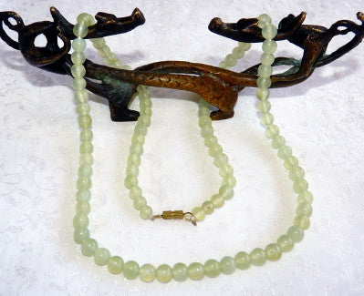 "Translucent Green Chinese Jade 20"" Bead Necklace -  (CJNECK-28)"