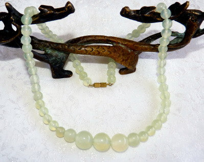 Chinese Jade Translucent Yin Green Bead Necklace - Last One! - CJNECK-21)