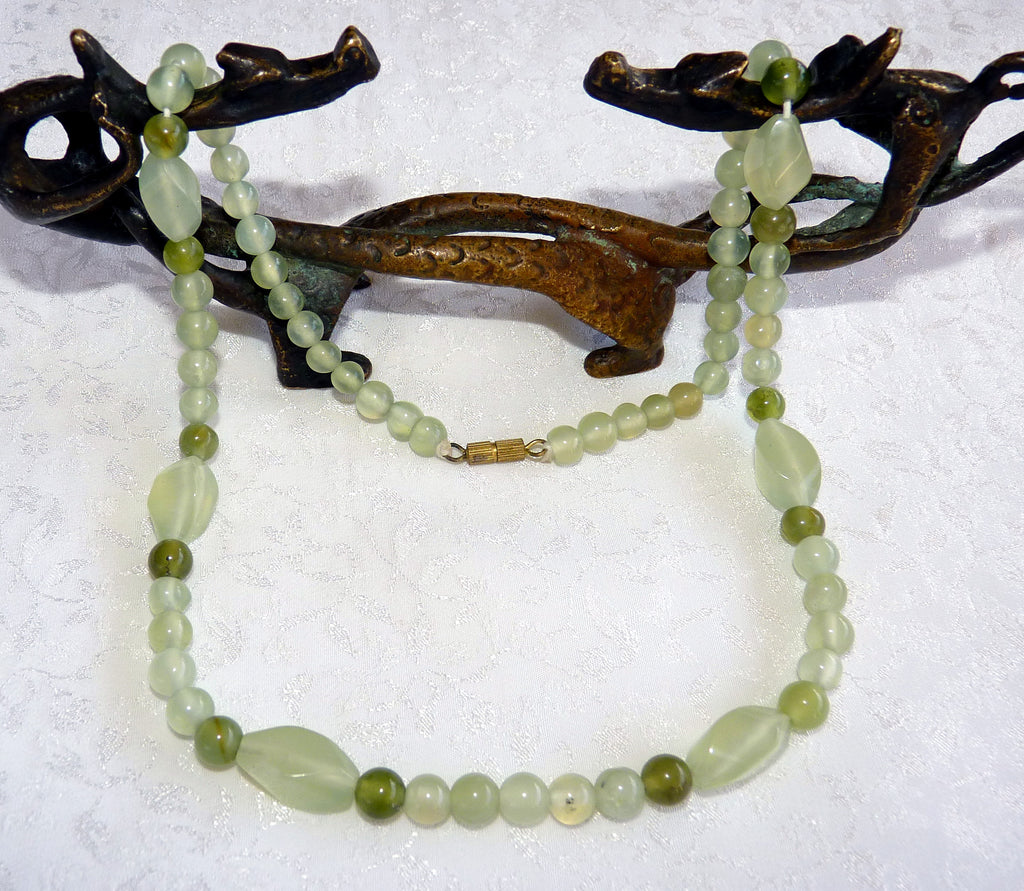 "Chinese Jade Varied Bead Necklace 17"" - Last one!- (CJNECK-22)"
