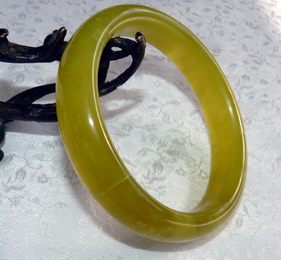 "Clearance-""Spice of Life"" Chinese Jade Bangle Bracelet 66mm (CL-7)"