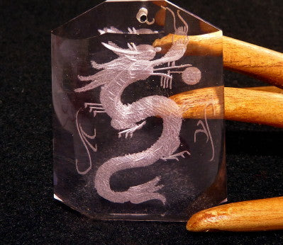 ":Dragon Protects"" Chinese Lavender Crystal Pendant Large Size   (CP-237)"