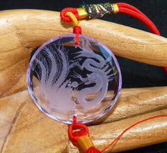 """Dragon and Phoenix"" Round Lavender Chinese Crystal Hanger/Pendant (CP-251)"
