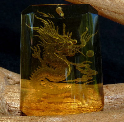 """Dragon Protects"" Chinese  Crystal Pendant (CP-252)"