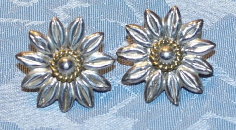 Sterling Silver Vintage Mexico LARGE Two Tone Flower Earrings (BOX-E-3)