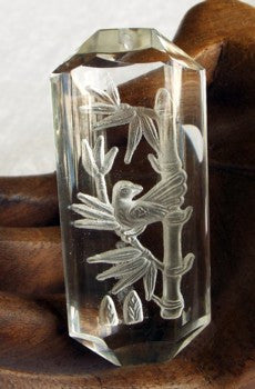 """Birds and Bamboo"" Large Clear  Crystal Pendant (CP51)"