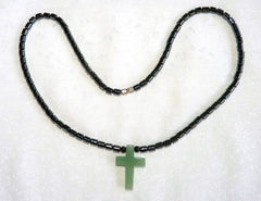 Chinese Jade on Hematite Cord Cross Pendant Necklace