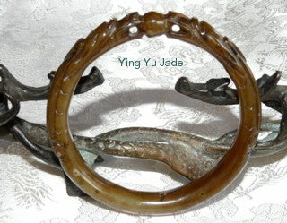 "Dynasty -""2 Dragons Play Pearl"" Honey Brown Jade Bangle 64mm (DC51)"