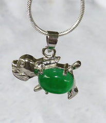 Tiny Silver Dog with Jade Cabochon (Silver-Dog)