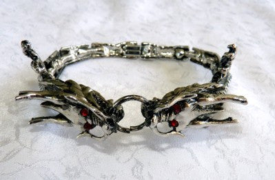 Double Red-Eyed Silver Dragon Bracelet-Ying Yu's Jewelry Box