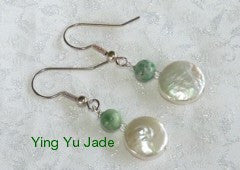 Elegant Jade and Pearl Earrings