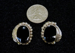 Vintage Southwestern Style Sterling Silver Onyx Earrings (BOX-EAR7)