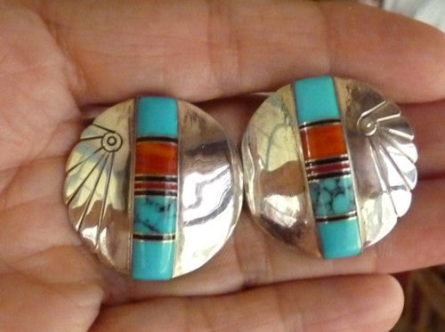 Vintage Southwestern Native American Made Sterling Silver Turquoise Coral Earrings (BOX88)