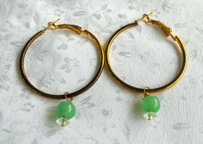 Jade Bead and Gold Tone Hoop Earrings
