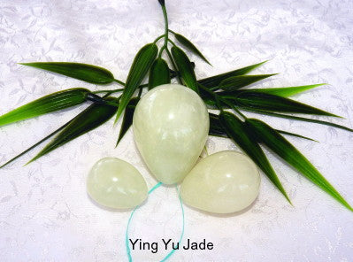 "Womens Wellness Sale - Set Three ""Yin"" Light Green Jade Yoni Eggs for Women-Drilled Hole-Kegel Exercise"