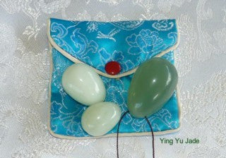 """Yin Yang"" Set of 3 Jade Eggs for Kegel, Pelvic Floor Exercise-Drilled with Hole"