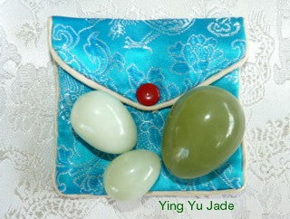 "Set Three ""Yin Yang"" Jade Eggs for Women-No Hole UNDRILLED- Kegel Exercise"