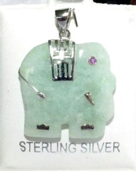 Translucent Green Jadeite and Sterling Silver Elephant Pendant (P-917_5)