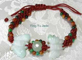 """Transforming Butterflies"" Jadeite Adjustable Bracelet (FJB53)"