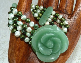 Deal of the Day-Big Bold Jade Chrysanthemum with Green and White Pearl Bracelet