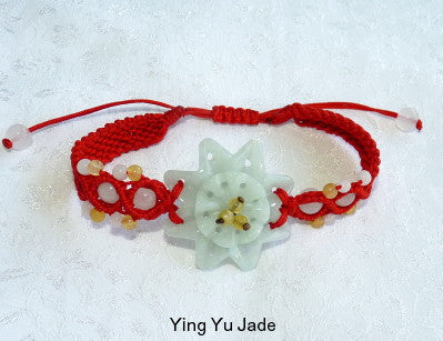 "Burmese Jadeite ""Star Flower"" Adjustable Bracelet (FJB-66)"