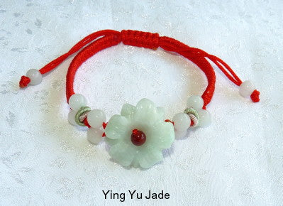 "Burmese Jadeite ""Yin Flower"" Adjustable Bracelet (FJB-67)"