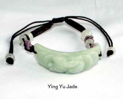"""Rabbit Brings Luck and Wealth"" Burmese Jadeite  and Silk Adjustable Bracelet (FJB61)"