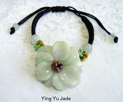 """Chrysanthemum"" Burmese Jadeite Adjustable Bracelet (FJB65)"