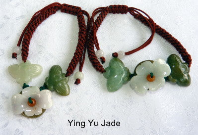 1Burmese Jadeite Flower and Butterfly Adjustable Bracelet (FJB85)