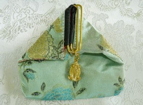 "Chinese Silk ""Frog"" Pouch-Green"