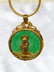 Gold Guan Yin on Green Jade Pendant (GY-Gold)