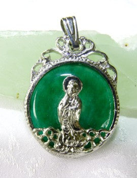 Silver Guan Yin on Green Jade Pendant (GY-Silver)