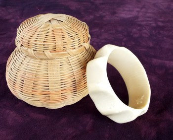 Genuine Vintage Ivory Bangle Bracelet  Wide Cuff Style (Ivory-1)