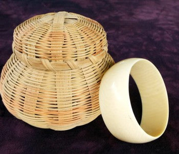 Vintage Antique Genuine Ivory Bangle Bracelet Wide Cuff Style