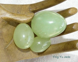 "Auspicious ""Good Luck, Happiness, Health"" Jade Eggs Set of 3"