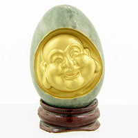 "Green Jade Carved  Jade Buddha Egg, ""Health and Abundance"""