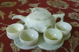 """Prosperous Fish"" Carved Jade Teapot Set, Vintage, Rare  - [TEA-FISH]"