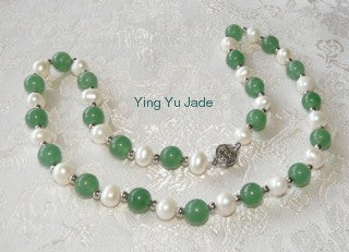 Jade Beads  and Lustrous Pearls Necklace (JPNECK-551)