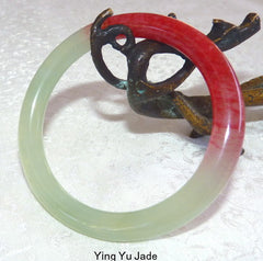 """Kiss of Blood Red"" Chinese Jade Bangle Bracelet 57mm  (NJK57)"